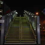 Night Time, Illuminated Outdoor Stairs, DLR, Wharfside Road, East India Docklands, London, England.